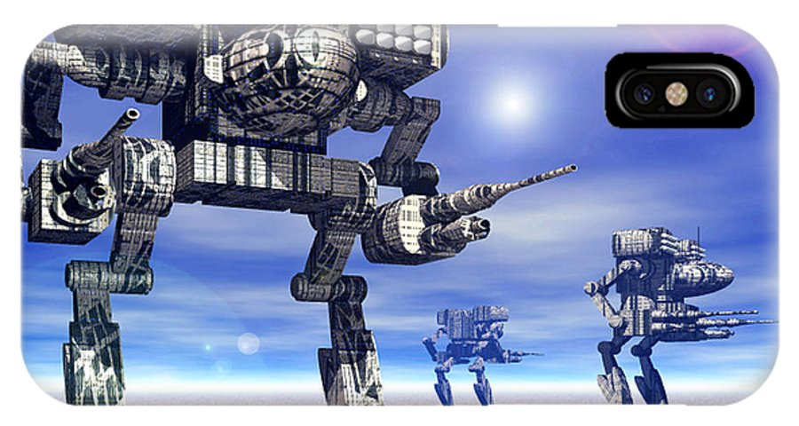 Science Fiction IPhone X Case featuring the digital art 501st Mech Trinary by Curtiss Shaffer