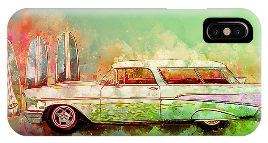 1957 IPhone X Case featuring the digital art 57 Chevy Nomad Wagon Blowing Beach Sand by Chas Sinklier