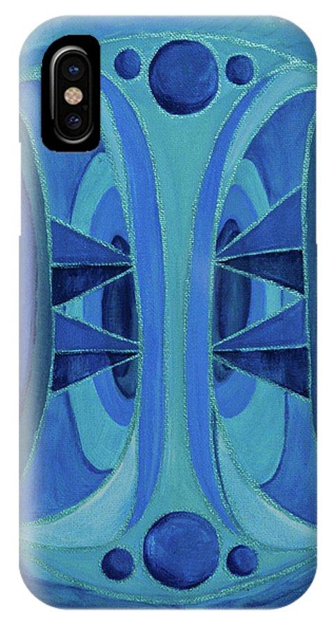 Mandala IPhone X Case featuring the painting 5th Mandala - Throat Chakra by Jennifer Christenson