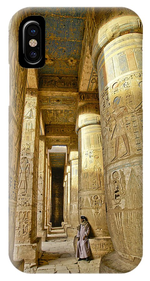 Egypt IPhone X Case featuring the photograph Colonnade In An Egyptian Temple by Michele Burgess