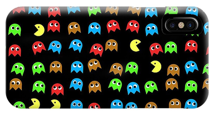 Monsters IPhone X / XS Case featuring the digital art Game Monsters Seamless Generated Pattern by Miroslav Nemecek