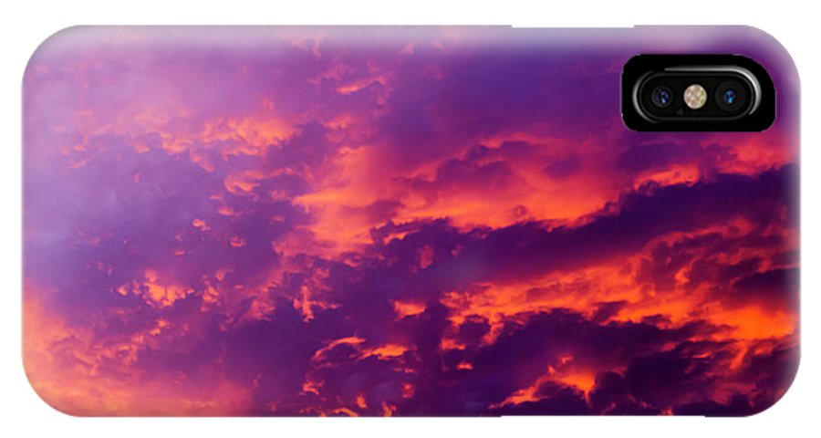 Sun IPhone X Case featuring the photograph Red Cloudscape At Sunset. by Sv