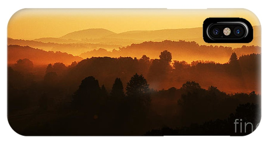 Sunrise IPhone X Case featuring the photograph West Virginia Misty Mountain Sunrise by Thomas R Fletcher