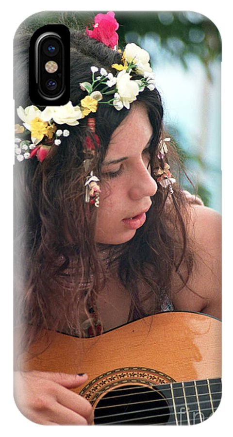 New Age IPhone X Case featuring the photograph 60's Flower Girl by Ilan Rosen