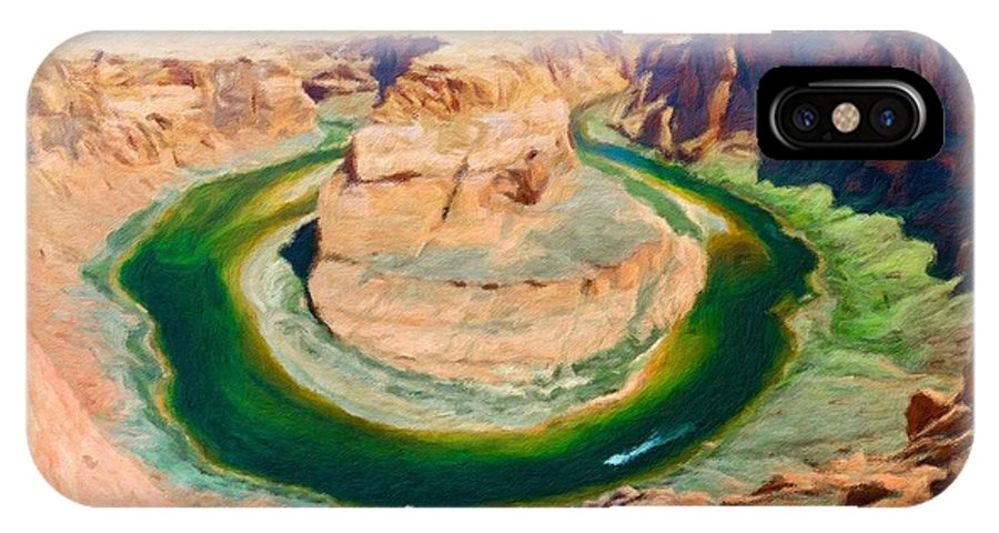 Landscape IPhone X Case featuring the painting Oil Painting Landscape Pictures by World Map