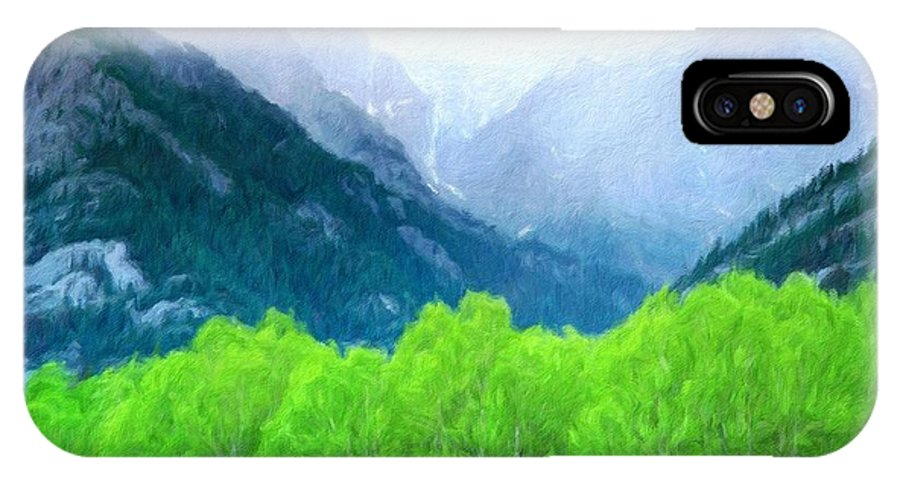 Landscape IPhone X Case featuring the painting Nature Work Landscape by World Map