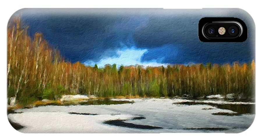 Landscape IPhone X Case featuring the painting Nature Landscape Wall Art by World Map