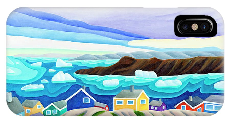 Arctic Landscape. Greenland IPhone X Case featuring the painting 69 Degrees 13 Minutes North by Lynn Soehner
