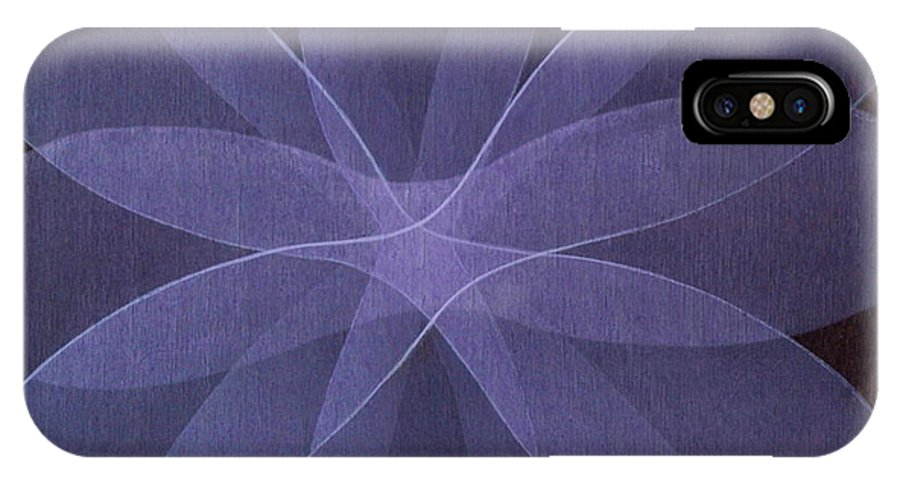 Abstract IPhone X Case featuring the painting Abstract Flower by Jitka Anlaufova
