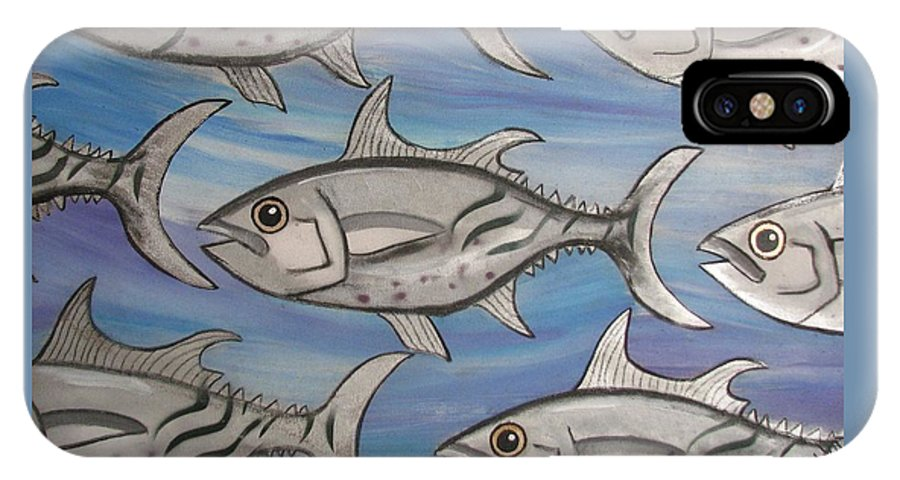 Sea IPhone X Case featuring the painting 7 Fish by Joan Stratton