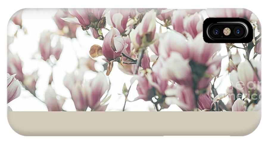 Magnolia IPhone X Case featuring the pyrography Magnolia by Jelena Jovanovic