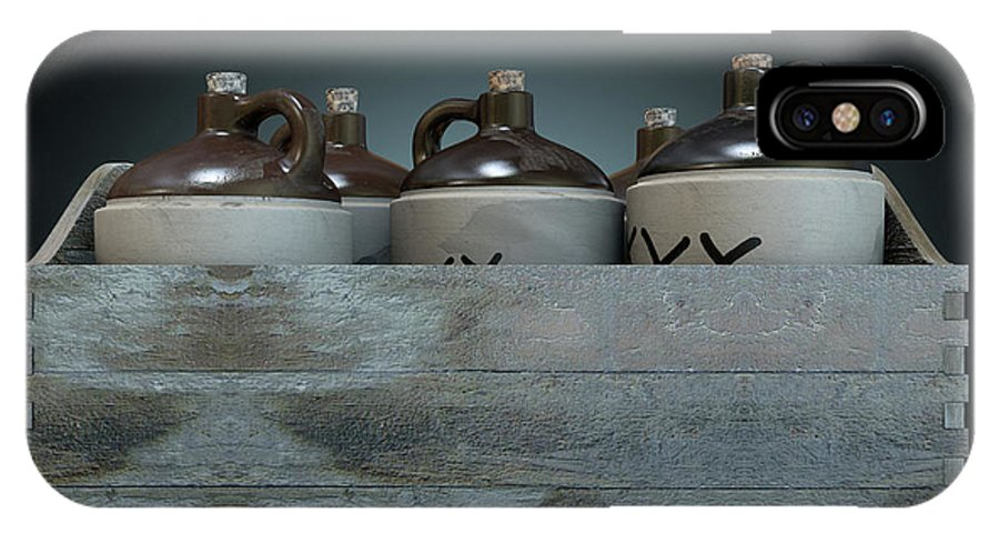 Jug IPhone X Case featuring the digital art Moonshine In Wooden Crate by Allan Swart