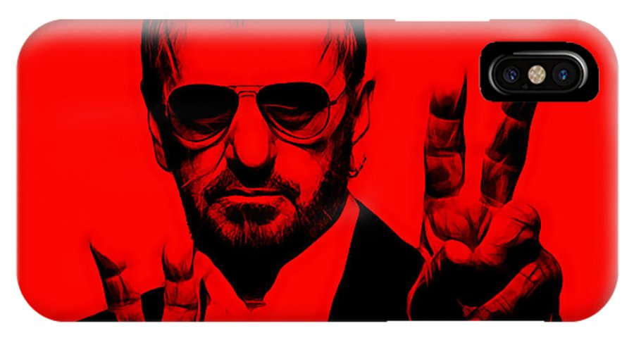 Ringo Starr IPhone X Case featuring the mixed media Ringo Starr Collection by Marvin Blaine