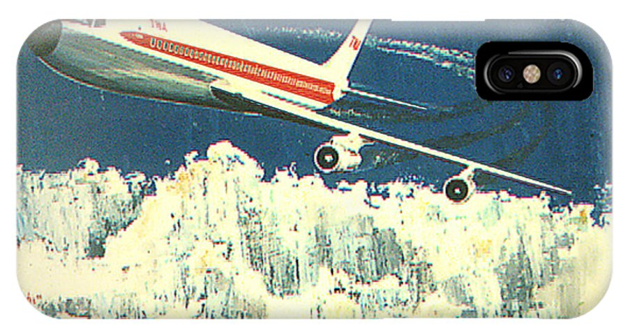 Boeing 707 IPhone X Case featuring the painting 707 In The Air by Frank Hunter