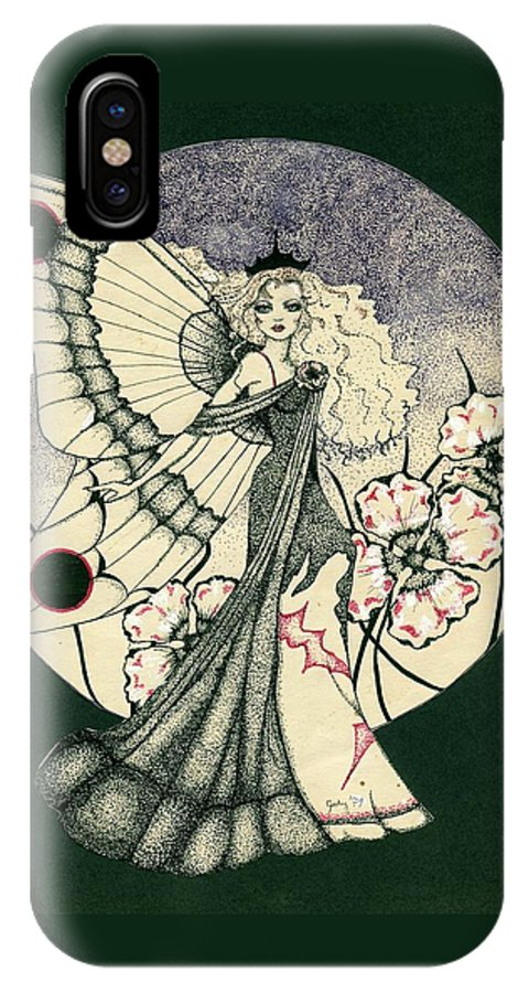 70's Style IPhone X Case featuring the drawing 70's Angel by V Boge