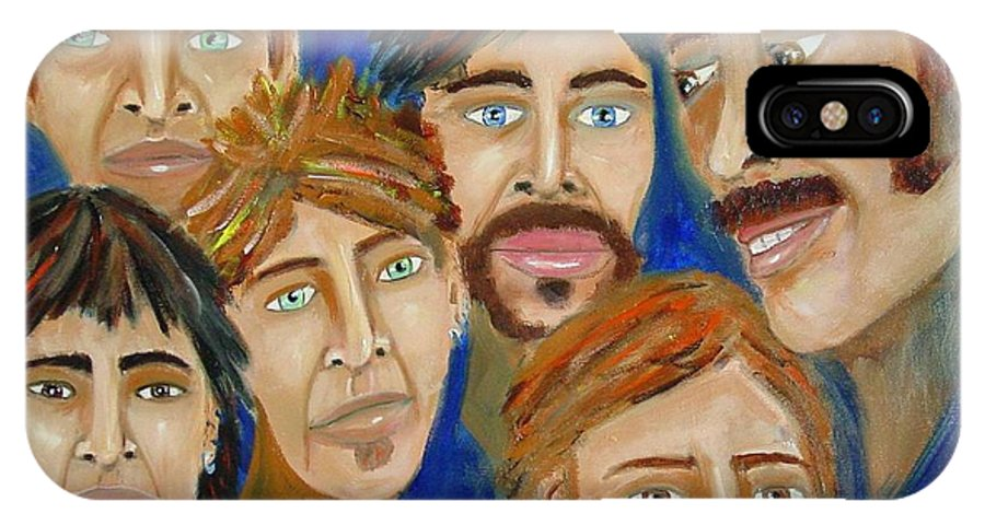 Portrait IPhone X Case featuring the painting 70s Band Reunion by Laurie Morgan