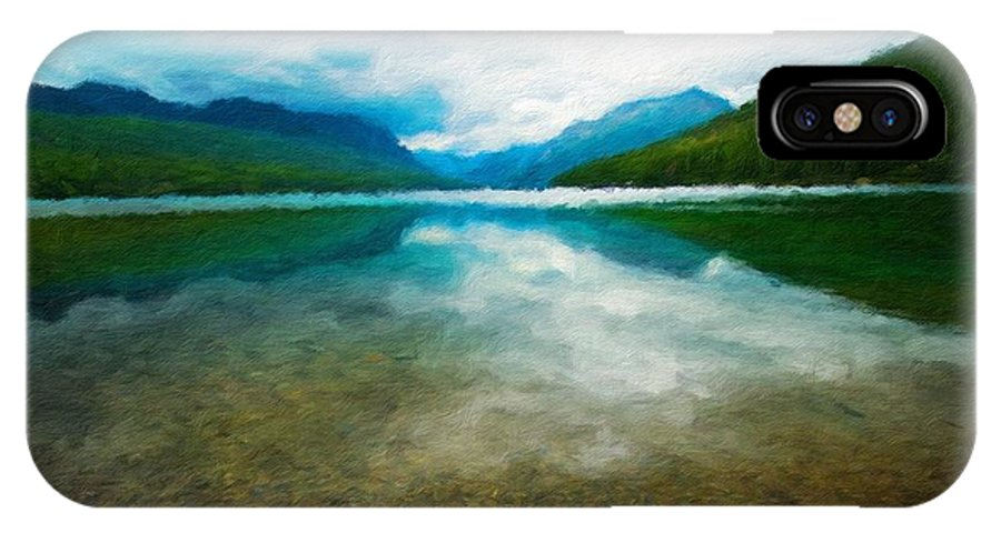 Landscape IPhone X Case featuring the painting Nature Landscape Oil by World Map