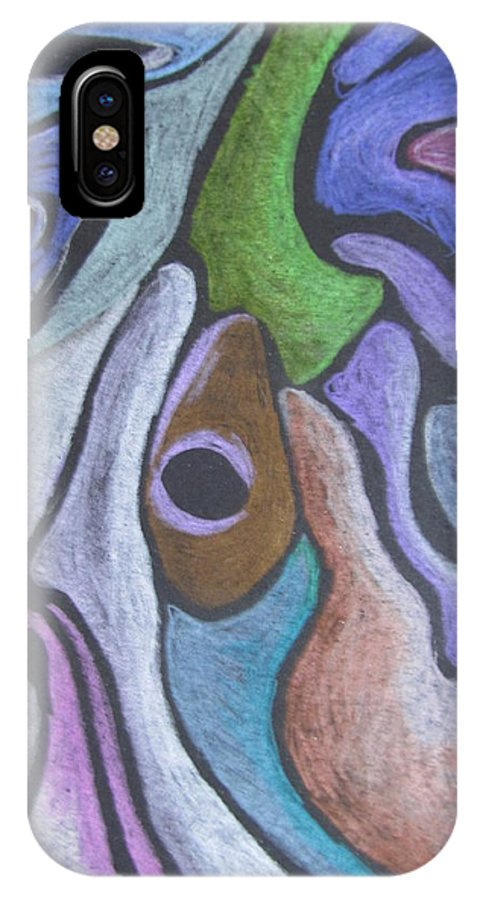 Colored Pencil Drawing IPhone X Case featuring the drawing #758 Abstract Drawing by Karen Henninger
