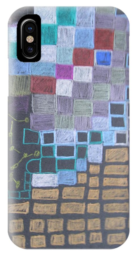 Colored Pencil And Marker Drawing IPhone X Case featuring the drawing #767 Absttract Drawing by Karen Henninger