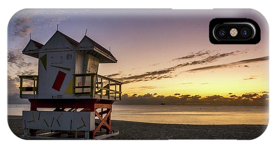 Atlantic IPhone X Case featuring the photograph 7901- Miami Beach Sunrise by David Lange