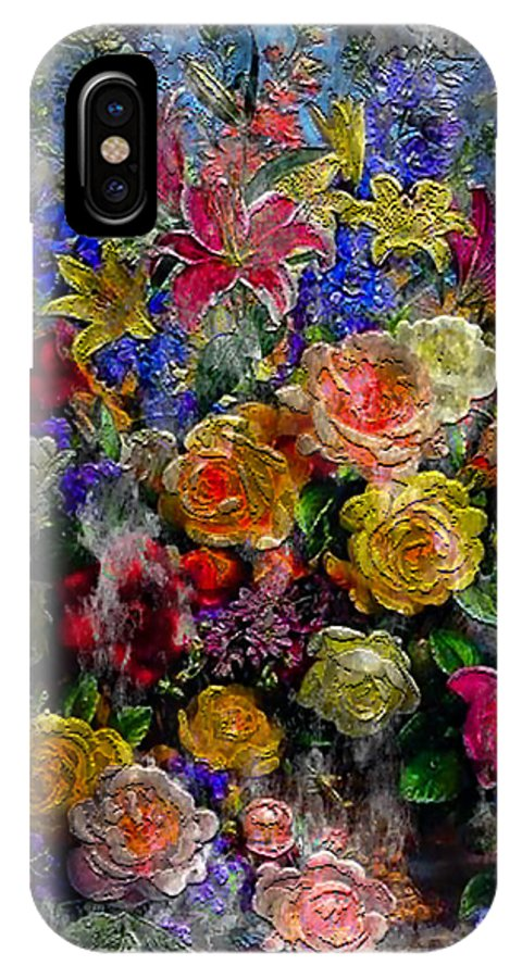 Abstract IPhone X Case featuring the painting 7a Abstract Floral Painting Digital Expressionism by Ricardos Creations