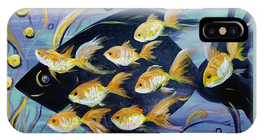 Fish IPhone X Case featuring the painting 8 Gold Fish by Gina De Gorna
