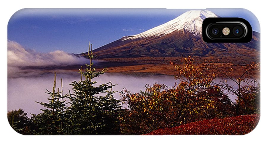 Japan IPhone X Case featuring the photograph Mount Fuji In Autumn by Michele Burgess