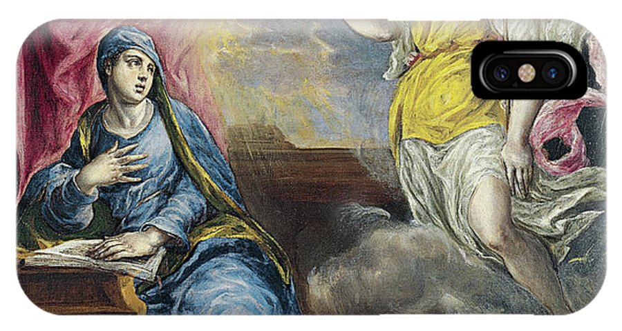 Annunciation IPhone X Case featuring the painting The Annunciation by El Greco