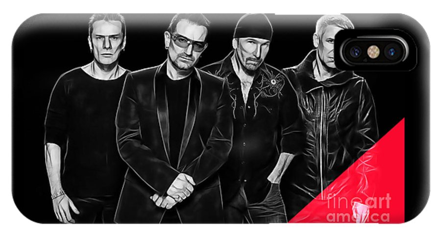 Bono IPhone X Case featuring the mixed media U2 Collection by Marvin Blaine