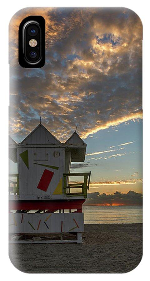 Atlantic IPhone X Case featuring the photograph 8003- Miami Beach Sunrise by David Lange