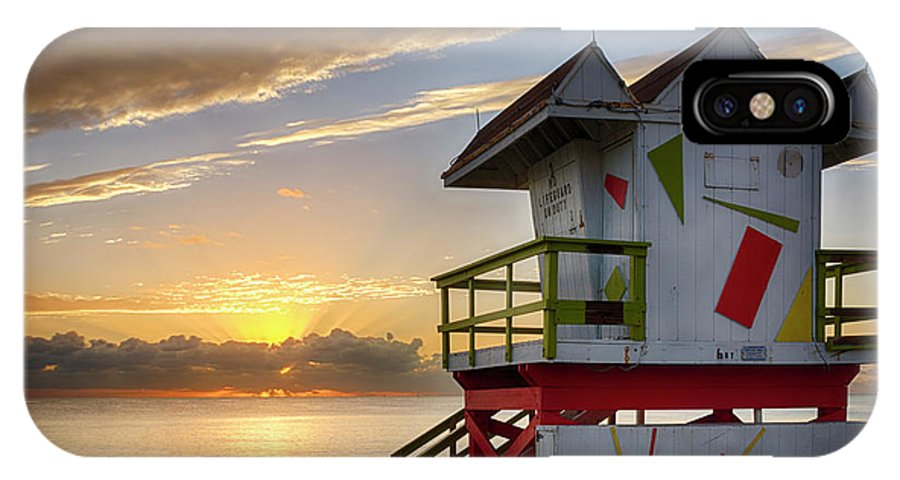 Atlantic IPhone X Case featuring the photograph 8081- Miami Beach Sunrise by David Lange