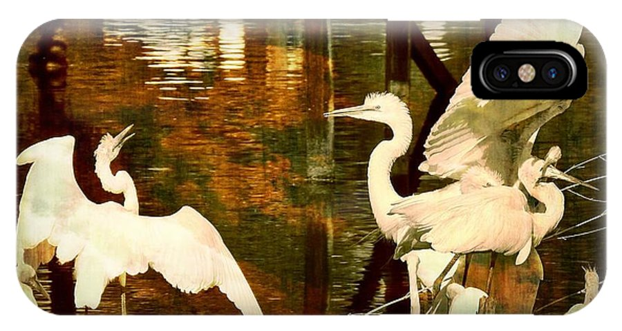 Bird IPhone X Case featuring the photograph 9 Egrets by Leslie Revels