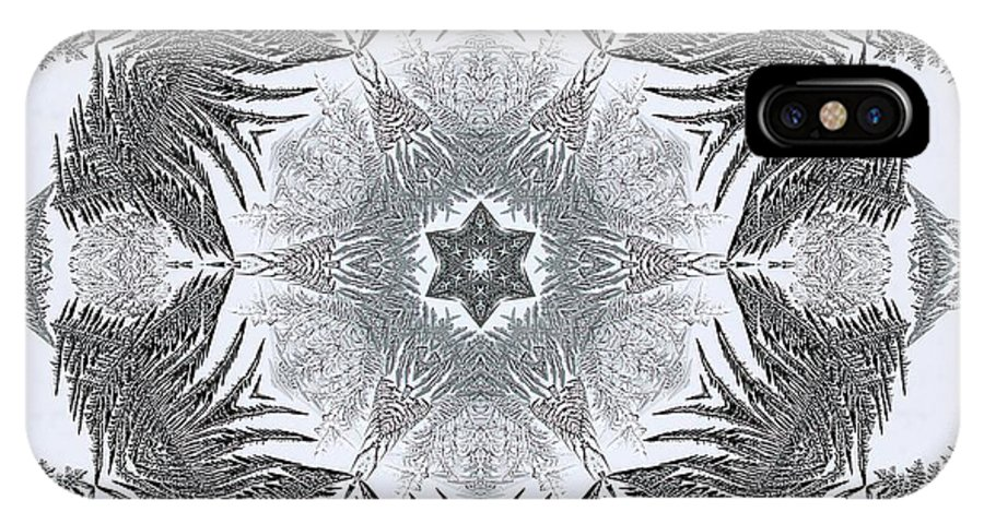 Mccombie IPhone X Case featuring the digital art Fern Frost Mandala by J McCombie