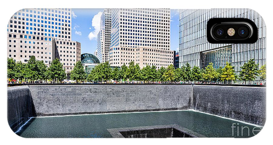 Twin Towers IPhone X Case featuring the photograph 911 Memorial - Panorama by John Waclo