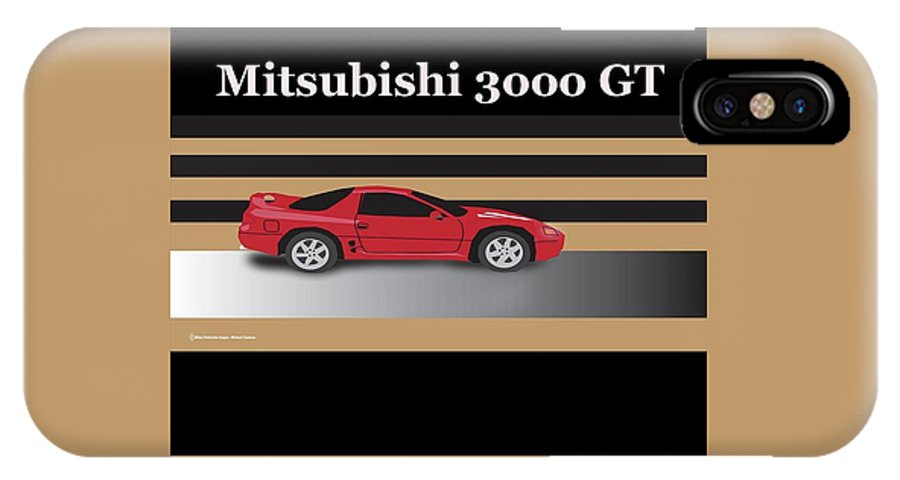 Mitsubishi 3000 Gt IPhone X Case featuring the digital art 99 Mitsubishi 3000 Gt by Michael Chatman