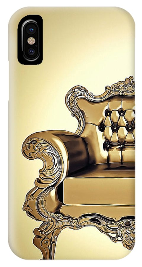 Room IPhone X / XS Case featuring the digital art A A G - Antiquearmchairgold by Nenad Cerovic
