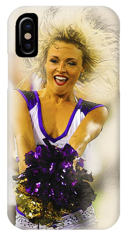 Decorative IPhone X Case featuring the digital art A Baltimore Ravens Cheerleader by Don Kuing