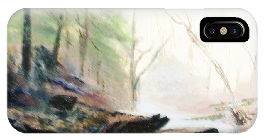 Cave IPhone X Case featuring the painting A Bears View by Gail Kirtz