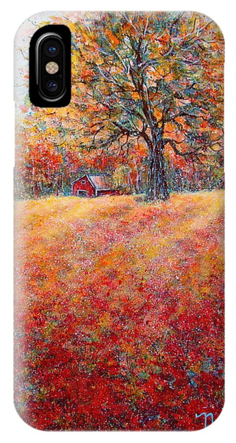 Autumn Landscape IPhone X Case featuring the painting A Beautiful Autumn Day by Natalie Holland