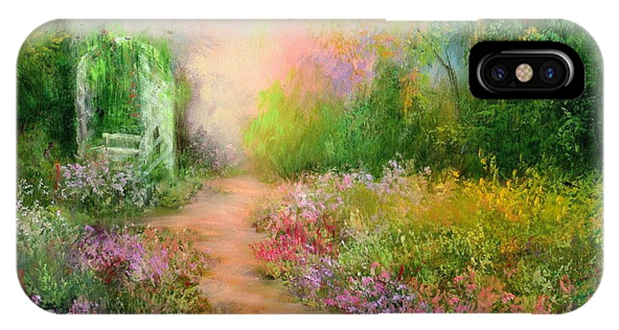 Flowers IPhone X Case featuring the painting A Beautiful Walk by Sally Seago