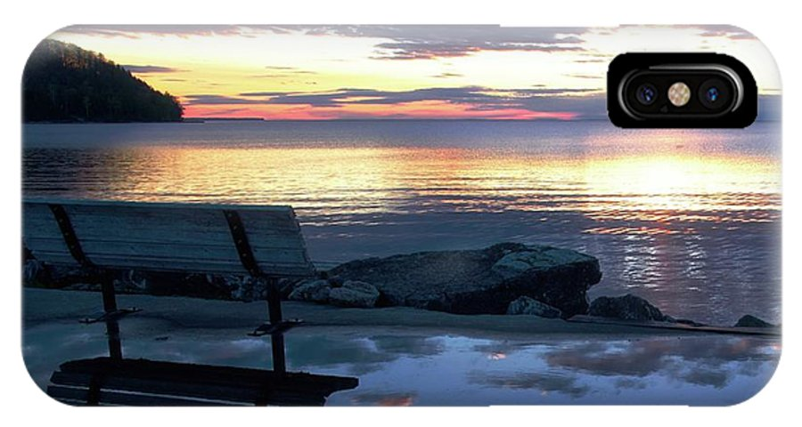 Bench IPhone X Case featuring the photograph A Bench To Reflect by John Fabina