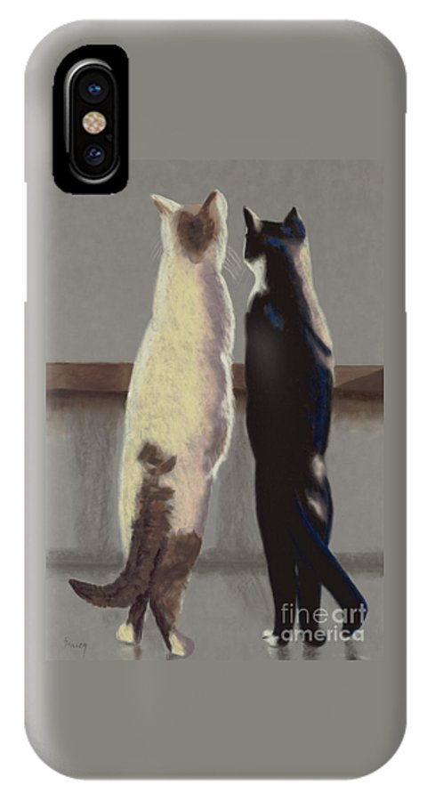 Cat IPhone X Case featuring the painting A Bird by Linda Hiller