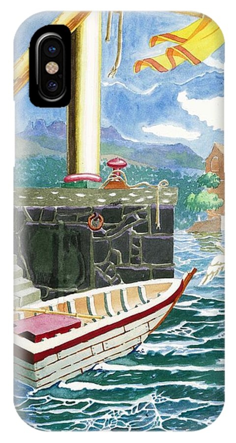 Makarand Joshi IPhone X / XS Case featuring the painting A Boat Harbored At A Jetty With A Yellow Flag by Makarand Joshi