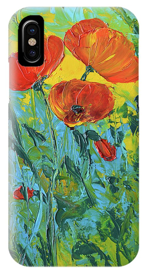 Poppies IPhone X Case featuring the painting A Breath Of Spring by Lee Bauman