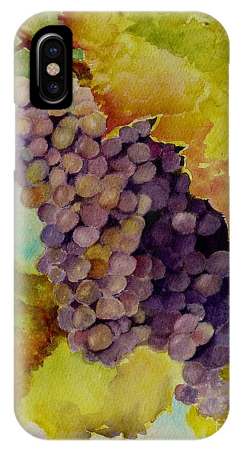 Grapes IPhone X Case featuring the painting A Bunch Of Grapes by Karen Fleschler