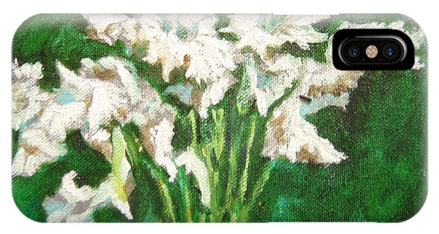 Bunch IPhone X Case featuring the painting A Bunch Of White Gladioli by Usha Shantharam