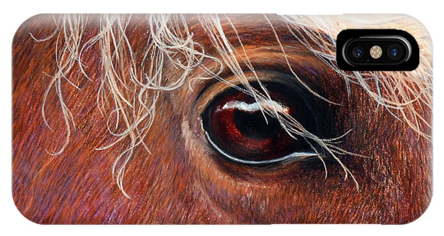 Horse IPhone X Case featuring the painting A Closer Look by Tanja Ware
