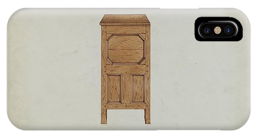 IPhone X Case featuring the drawing A Connecticut-type Hadley Chest-side View by Martin Partyka