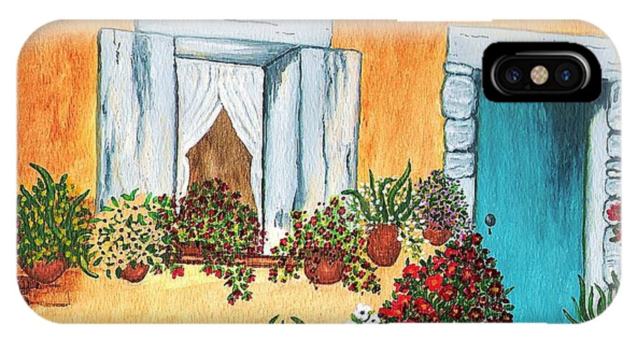 Watercolor Painting IPhone X Case featuring the painting A Cottage in the Village by Patricia Griffin Brett
