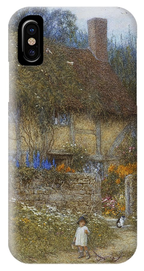 Landscape; Rural; English; Half-timbered; Victorian; Garden; Delphiniums IPhone X Case featuring the painting A Cottage Near Godalming Surrey by Helen Allingham